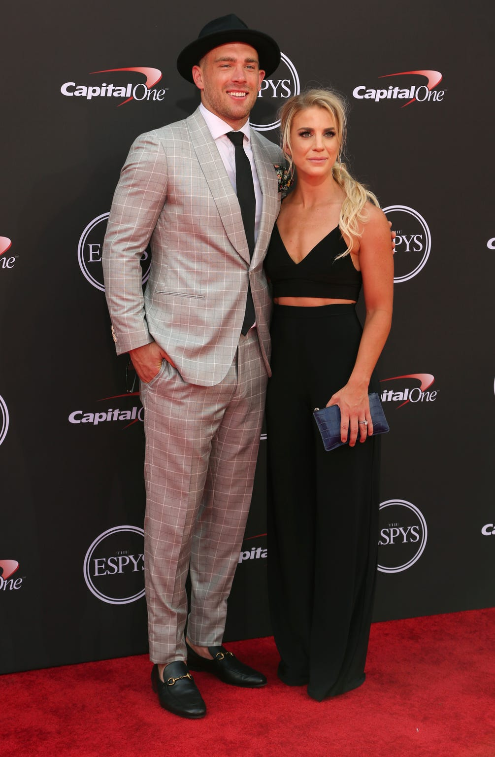 Julie Ertz and her husband, Zach, walk the red carpet at the ESPY Awards last summer.