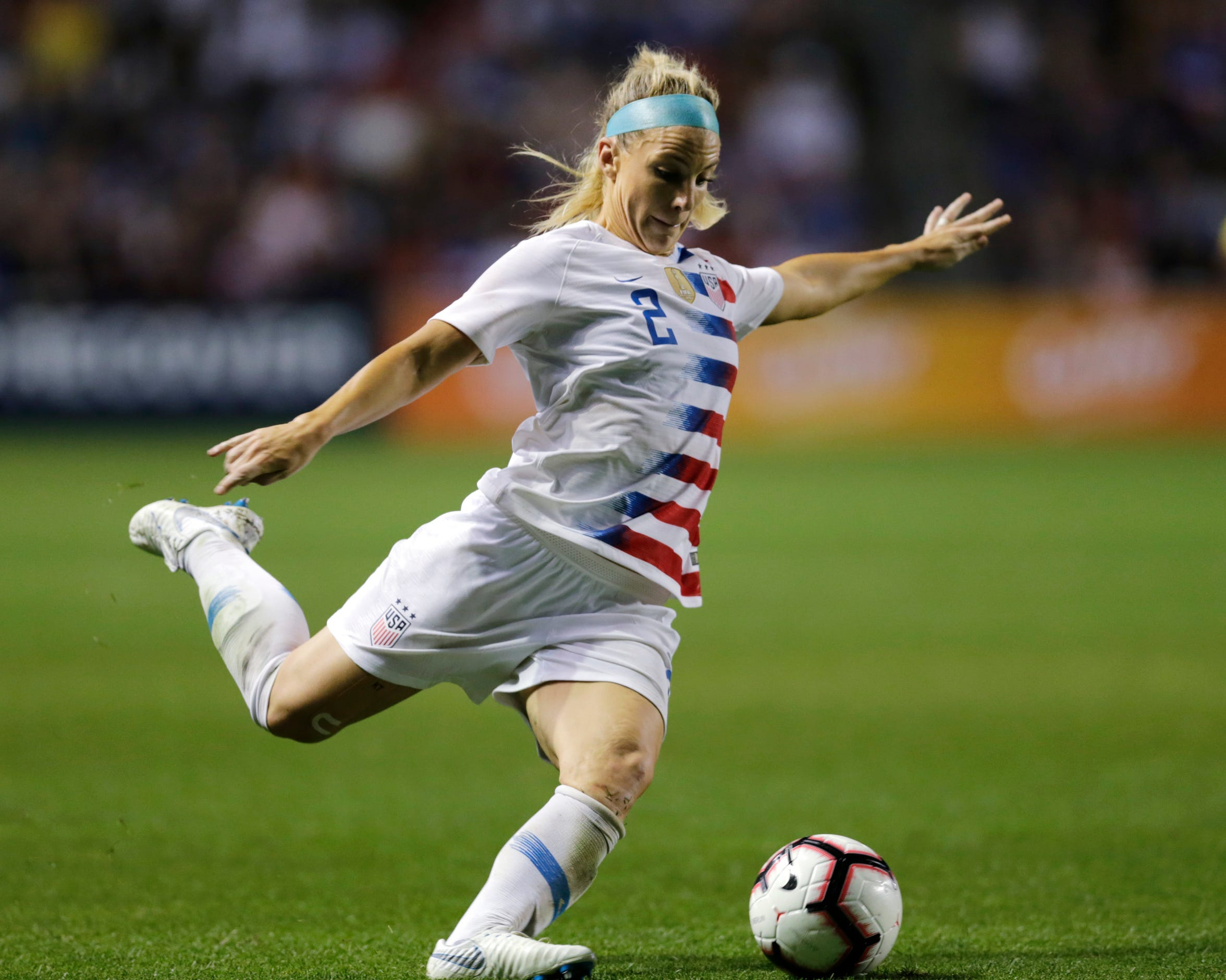 Julie Ertz passes the ball during the second half of a Tournament of Nations match last August.