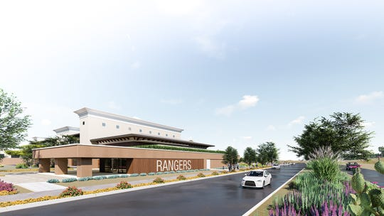 A rendering of the housing and training complex the Texas Rangers' wants to build across from Surprise Stadium.