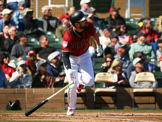 Arizona Diamondbacks Steven Souza Jr. hits a three-run home run off Colorado Rockies pitcher Chad Bettis in the first inning during a spring training game on Feb. 23, 2019 at Salt River Fields in Scottsdale, Ariz.