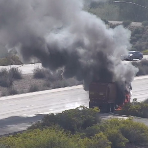 Freeway ramp to Sky Harbor airport partially reopens after garbage truck burns