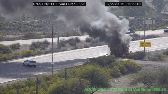 A dump truck fire shut a portion of Loop 202 leading into Sky Harbor International Airport Wednesday afternoon.