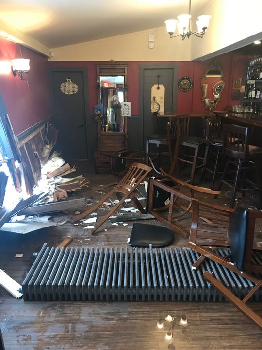 Damage at Paula's Public House after a car crashed into the side of the building.