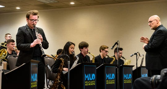 Director Richard Guillen conducts Arlington High School's Jazz Machine during the Mid-Atlantic Jazz Festival in Rockville, Maryland, Feb. 16-18.