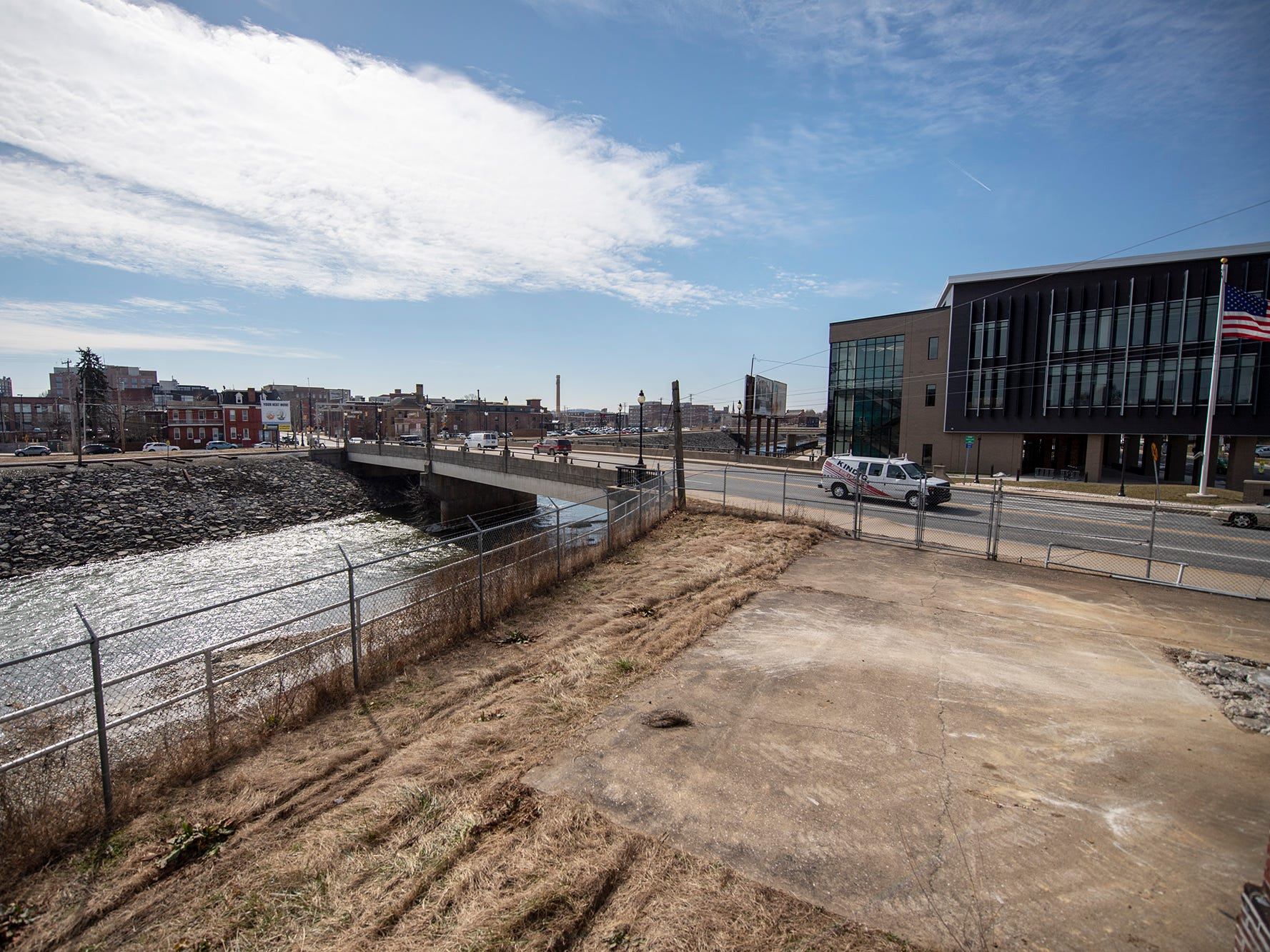 Looking from the armory building across the Codorus Creek. York Academy is at right. The York Armory, a brick fortress built in 1913 once used by the Pa. National Guard, will soon be transformed into Keystone Kidspace, an educational experience for families. It's expected to open in 2020.