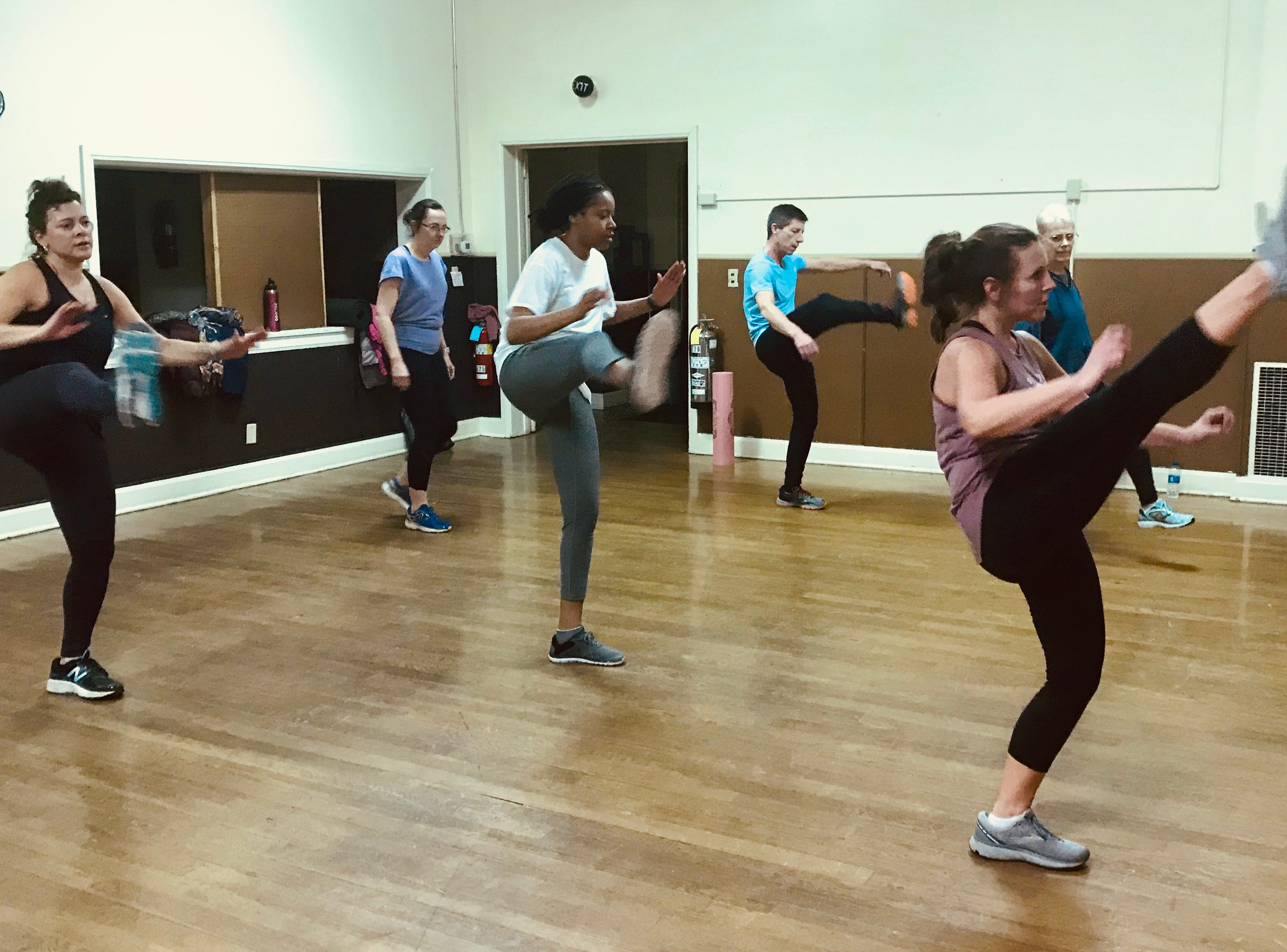 Former Fox 43 anchor Jaime Garland leads a cardio kickboxing class in the final No Sweat York winter session on February 26, 2019.