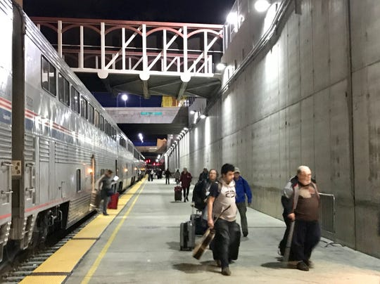 An Amtrak train was delayed in the Reno station Tuesday after the tracks in California were blocked by an avalanche.