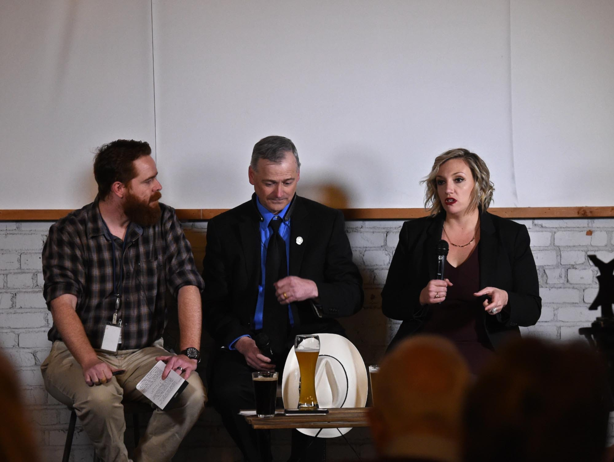 This month's Pints and Politics included State Senator Nicole Cannizzaro and Minority Leader Senator James Settelmeyer. The event was moderated by RGJ political reporter James DeHaven at Craft Wine-n-Beer in Midtown on Tuesday Feb. 26, 2019.