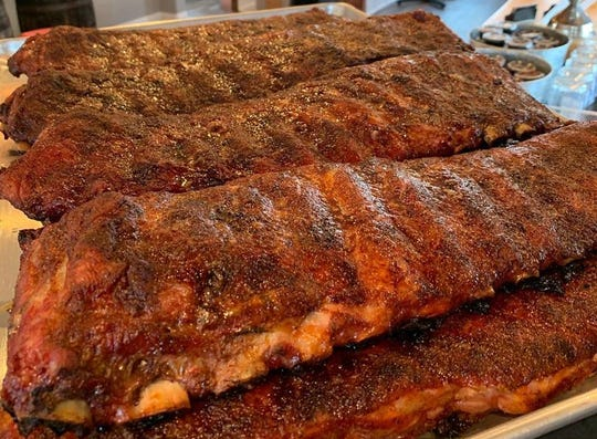 Brawny racks of ribs from Brothers Barbecue, which recently opened its new location on South Center Street in Midtown Reno.