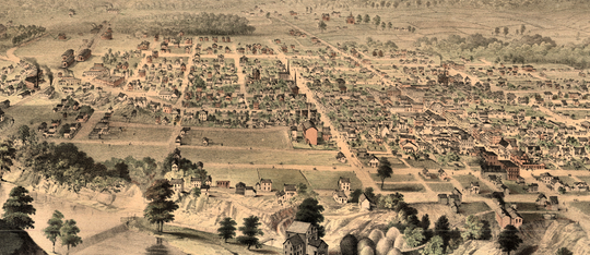 1859 sketch map of Richmond with Main Street in the middle and Fort Wayne Avenue angling upward mid-image left. The population then was about 6,00 people. In 1830, twenty-nine years prior, Richmond's population of 973 was ten times that of Chicago, Illinois.