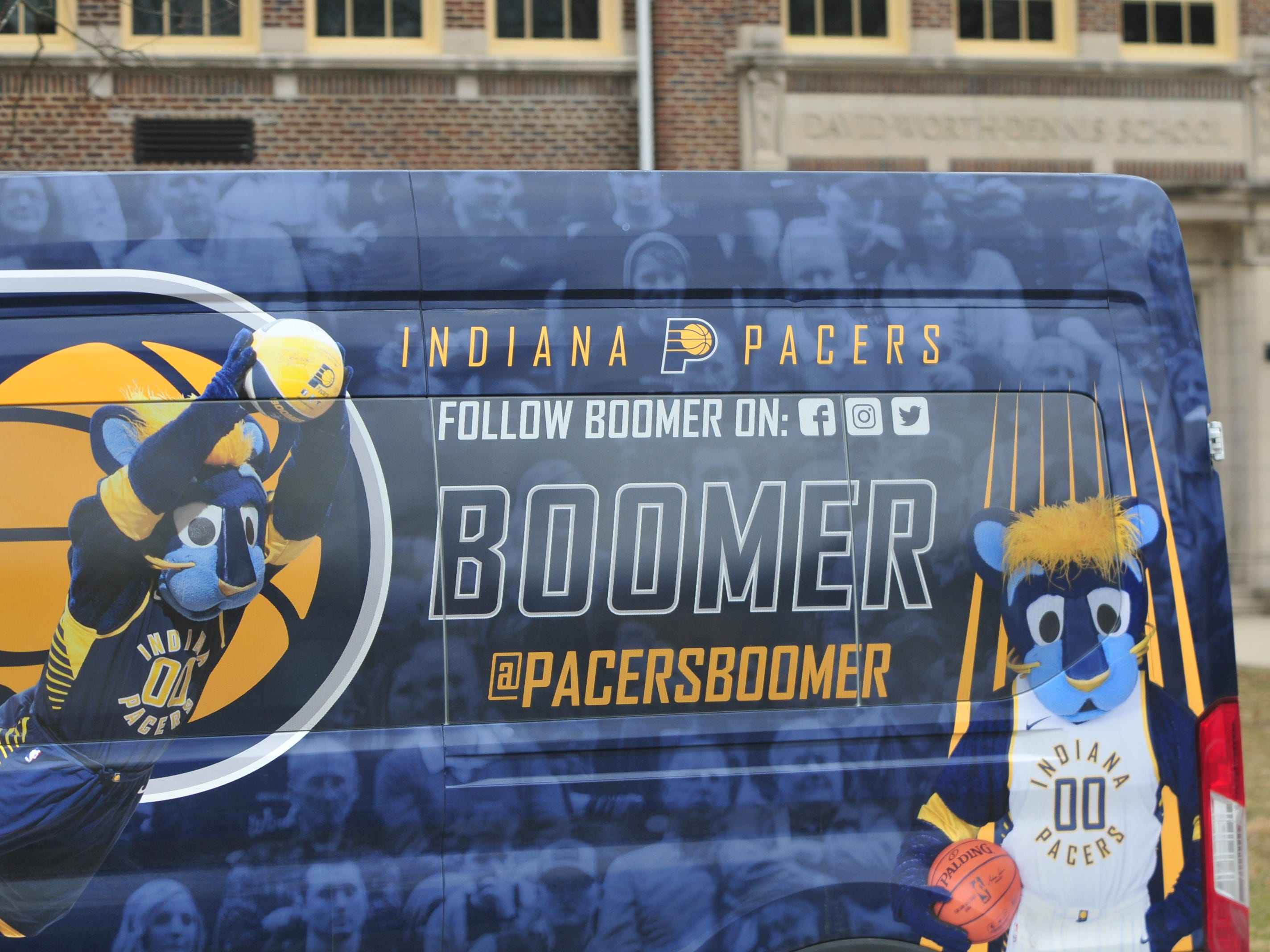Boomer's van pulled up in front of Dennis Intermediate School on Wednesday.