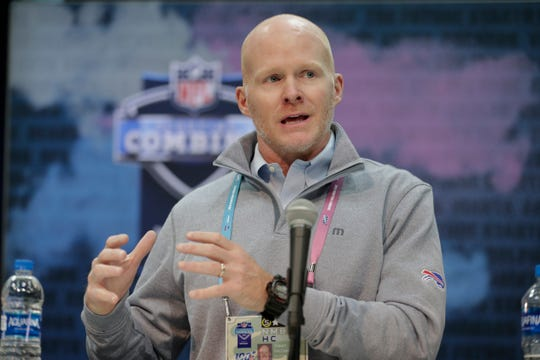 Buffalo Bills head coach Sean McDermott speaks during a press conference at the NFL football scouting combine in Indianapolis.