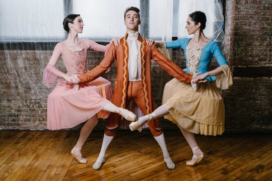 "Chris Collins portrays Valmont, who seduces Caitlin Schwartz, left, and Jessica Tretter as part of a revenge plot in ""Dangerous Liaisons,"" Rochester City Ballet's March performance."