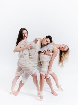 """From left, Rochester City Ballet company members Caitlin Schwartz, Chris Collins, and Elizabeth Rodbell will perform in """"Dangerous Liaisons"""" in March."""