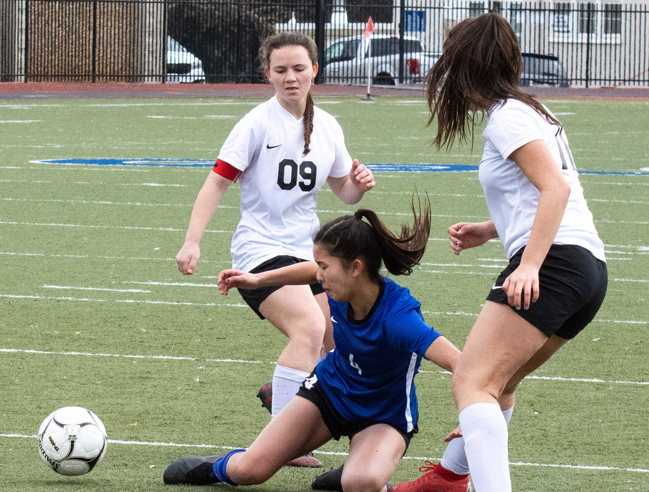 U-Prep's Savannah Leak tries to maintain control of the ball during the Panthers' 4-1 win in the Division II Northern Section championship on Saturday, Feb. 23.