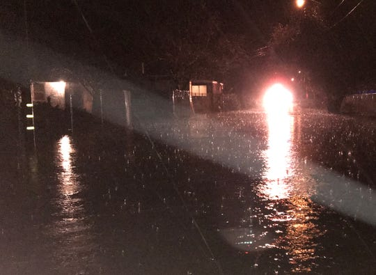 A Redding Fire Department official said water was flooding up to 3 feet in some places along Jewell Lane and the Safari Mobile Home Park in south Redding on Tuesday night, forcing the evacuation of about 60 homes.