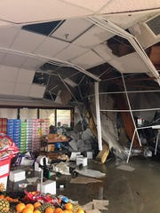 A view of the portion of the roof that collapsed on Tuesday night, Feb. 26, 2019, at Sav-Mor Foods in south Redding