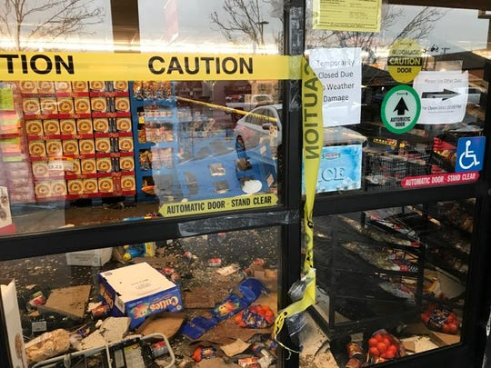 Sav-Mor Foods in south Redding is closed the morning of Wednesday, Feb. 27, due to a portion of the roof collapsing after the heavy rains.