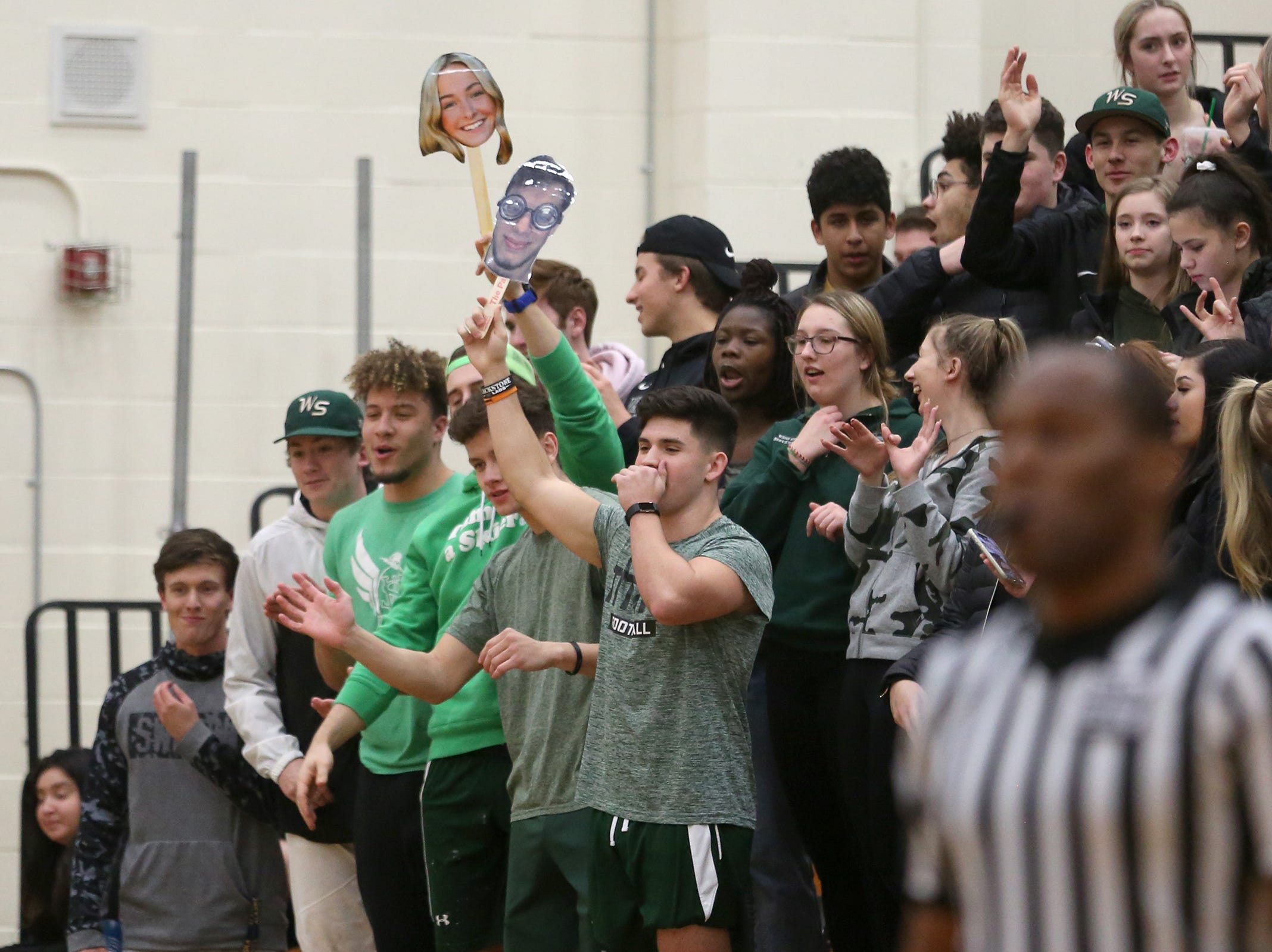 West Salem's student section distracts Westview during the West Salem vs. Westview 6A Boys Basketball State Championships first round at West Salem High School in Salem on Tuesday, Feb. 26, 2019.