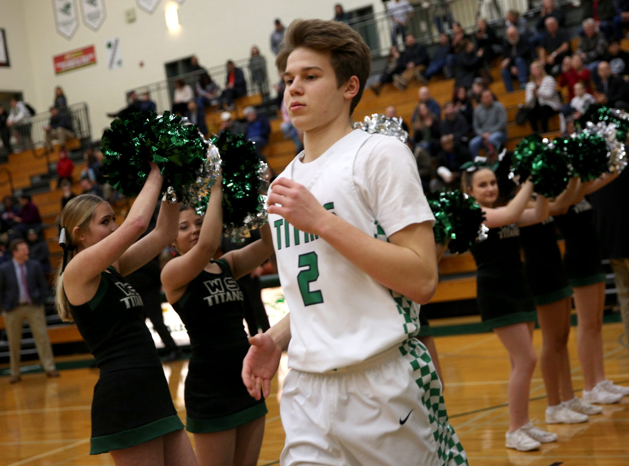 West Salem's Roman Ganchenko (2) ia introduced in the starting lineup before the West Salem vs. Westview 6A Boys Basketball State Championships first round at West Salem High School in Salem on Tuesday, Feb. 26, 2019.