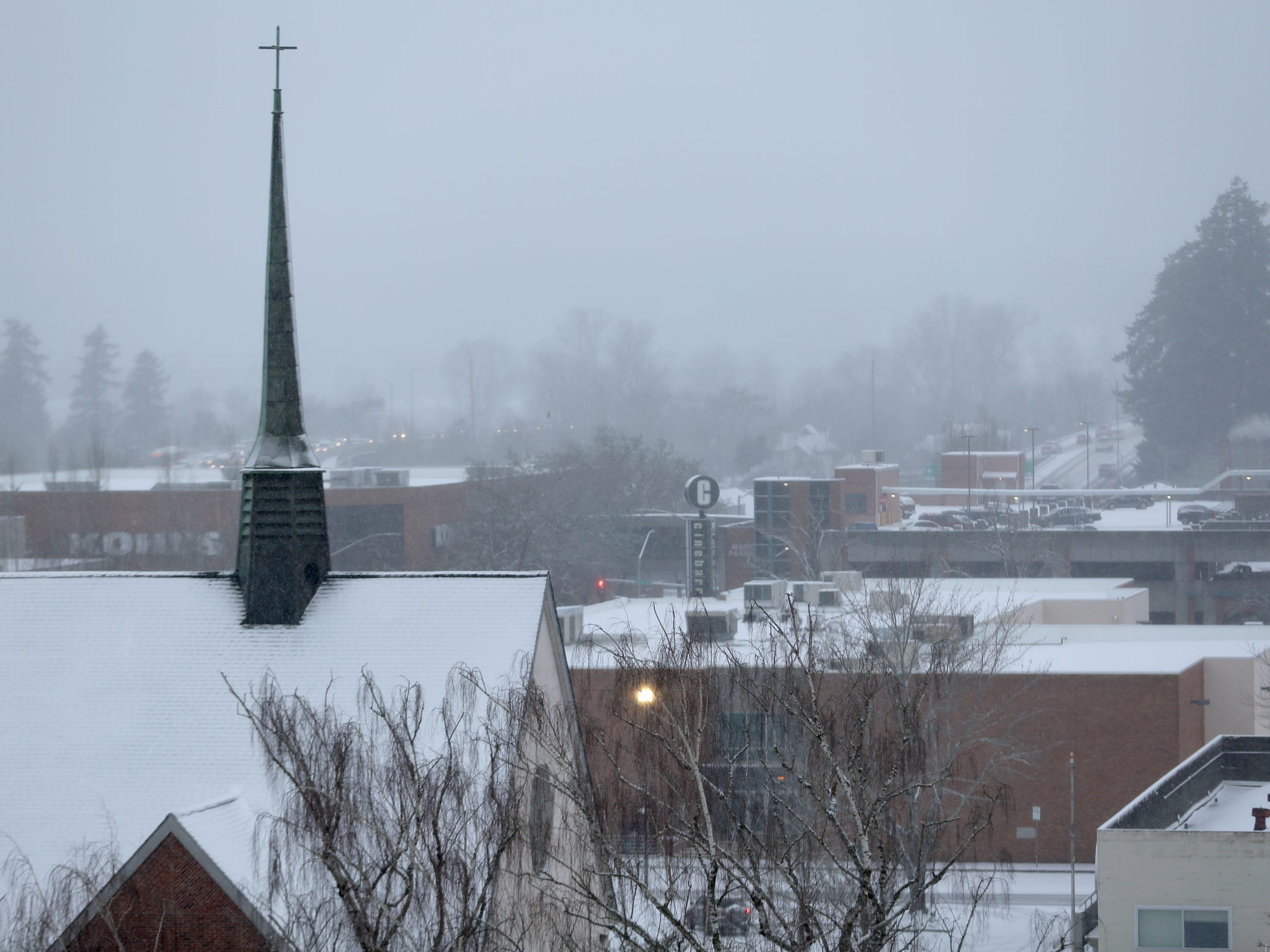 Snow blankets Salem on Wednesday, Feb. 27, 2019.