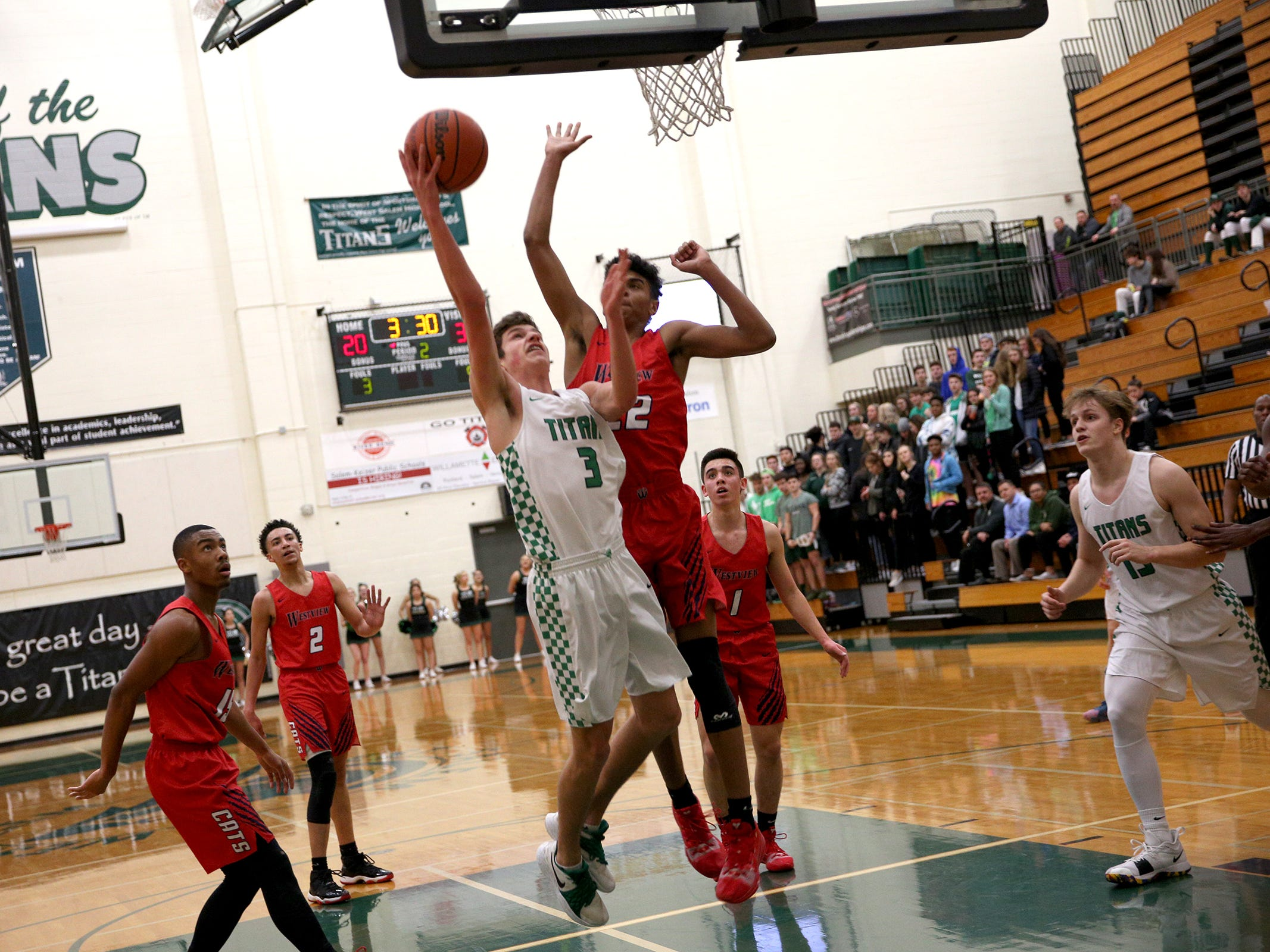 West Salem's Alec Dyson (3) attempts a layup during the West Salem vs. Westview 6A Boys Basketball State Championships first round at West Salem High School in Salem on Tuesday, Feb. 26, 2019.