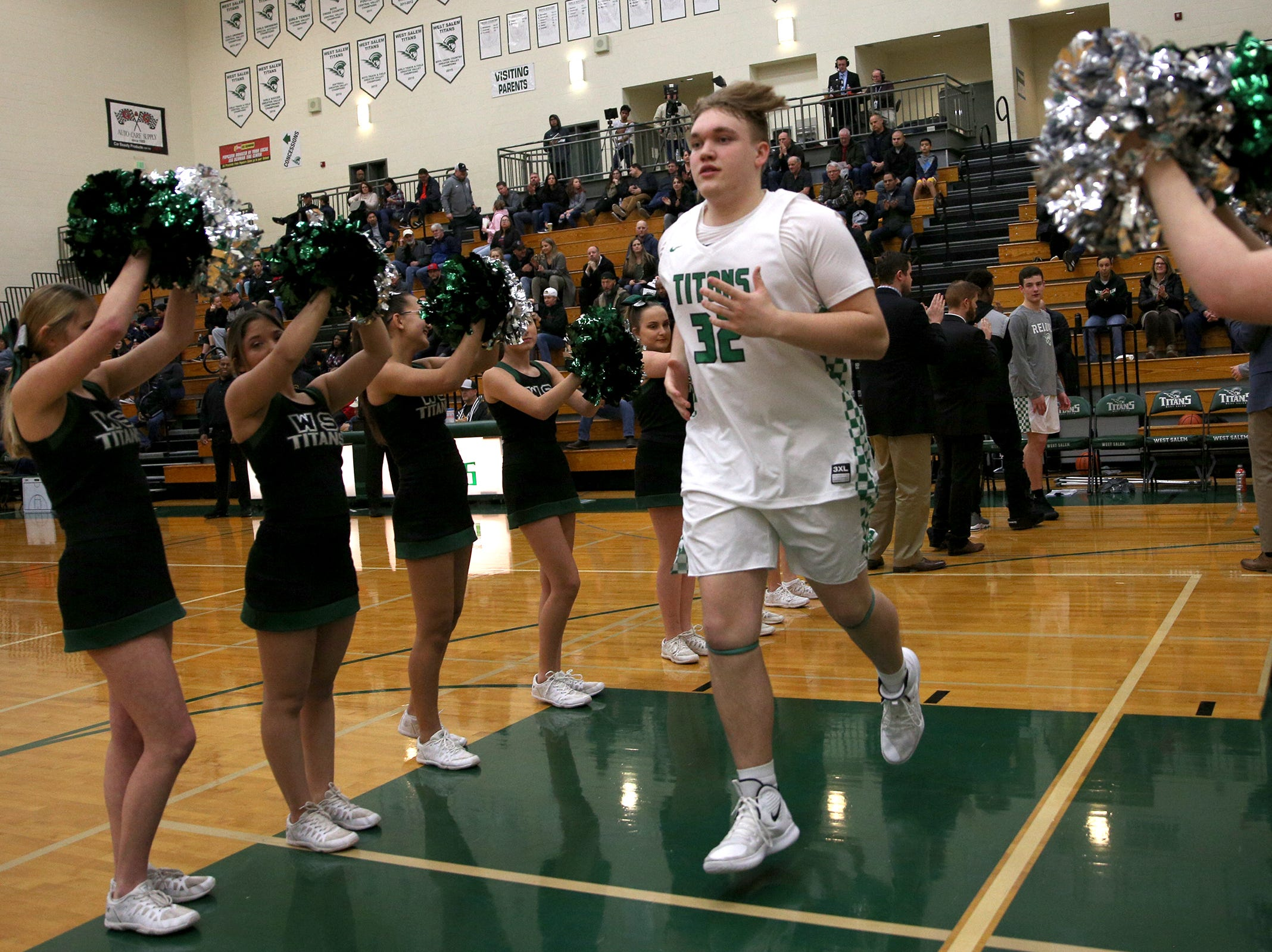 West Salem's Holden Whipple (32) is introduced in the starting lineup before the West Salem vs. Westview 6A Boys Basketball State Championships first round at West Salem High School in Salem on Tuesday, Feb. 26, 2019.