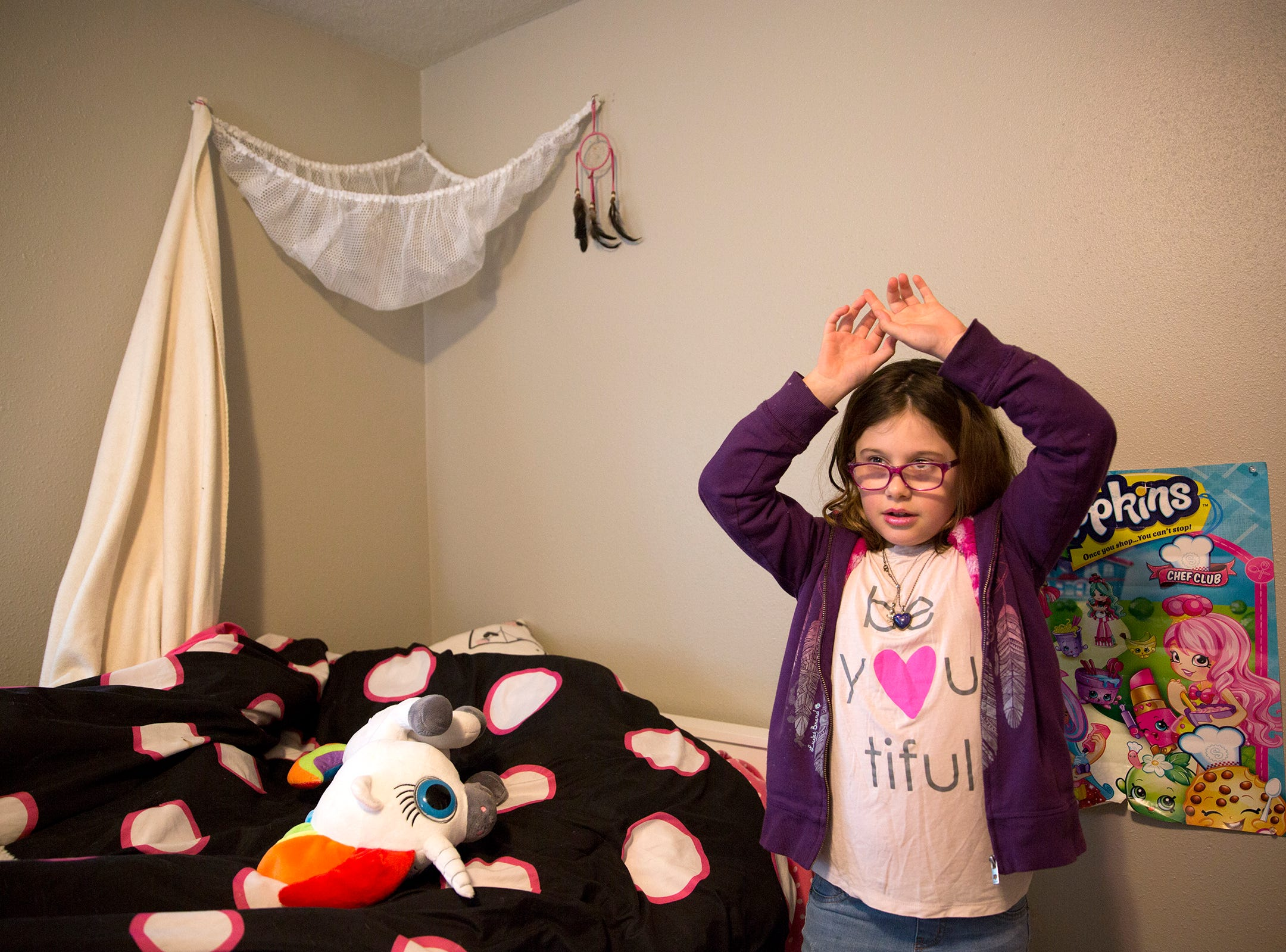 Haley Pollman gives a tour of her room at her home in Salem on Saturday, Feb. 23, 2019. Her family started the foundation, Haley's Heroes, to raise money for a clinical trial to look for treatment for Batten disease which has caused her vision to deteriorate and will eventually effect her entire nervous system.
