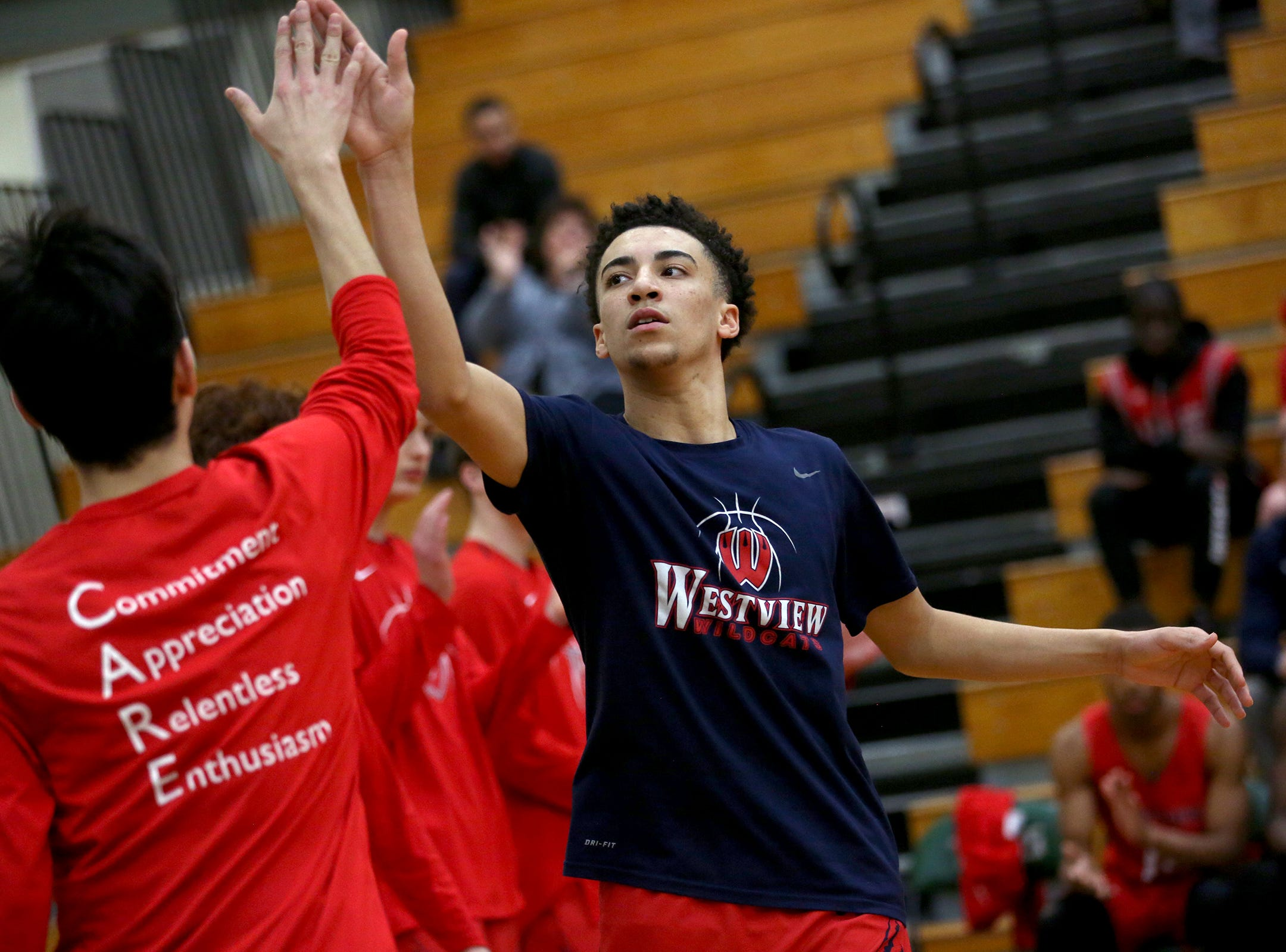 Westviews Kobe Newton (2) is introduced during the starting lineup before the West Salem vs. Westview 6A Boys Basketball State Championships first round at West Salem High School in Salem on Tuesday, Feb. 26, 2019.