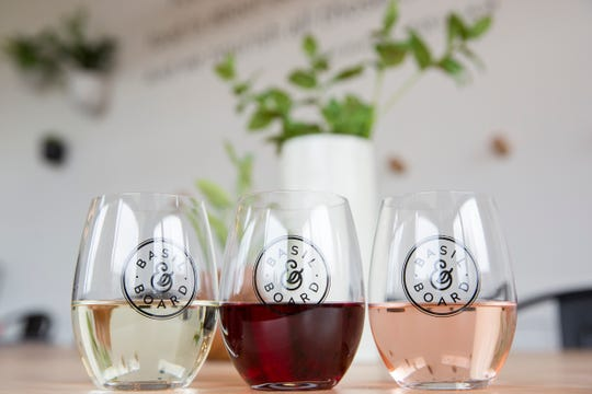 Glasses of white, red and rose wine at Basil & Board at their restaurant in Salem on Tuesday, Feb. 26, 2019.