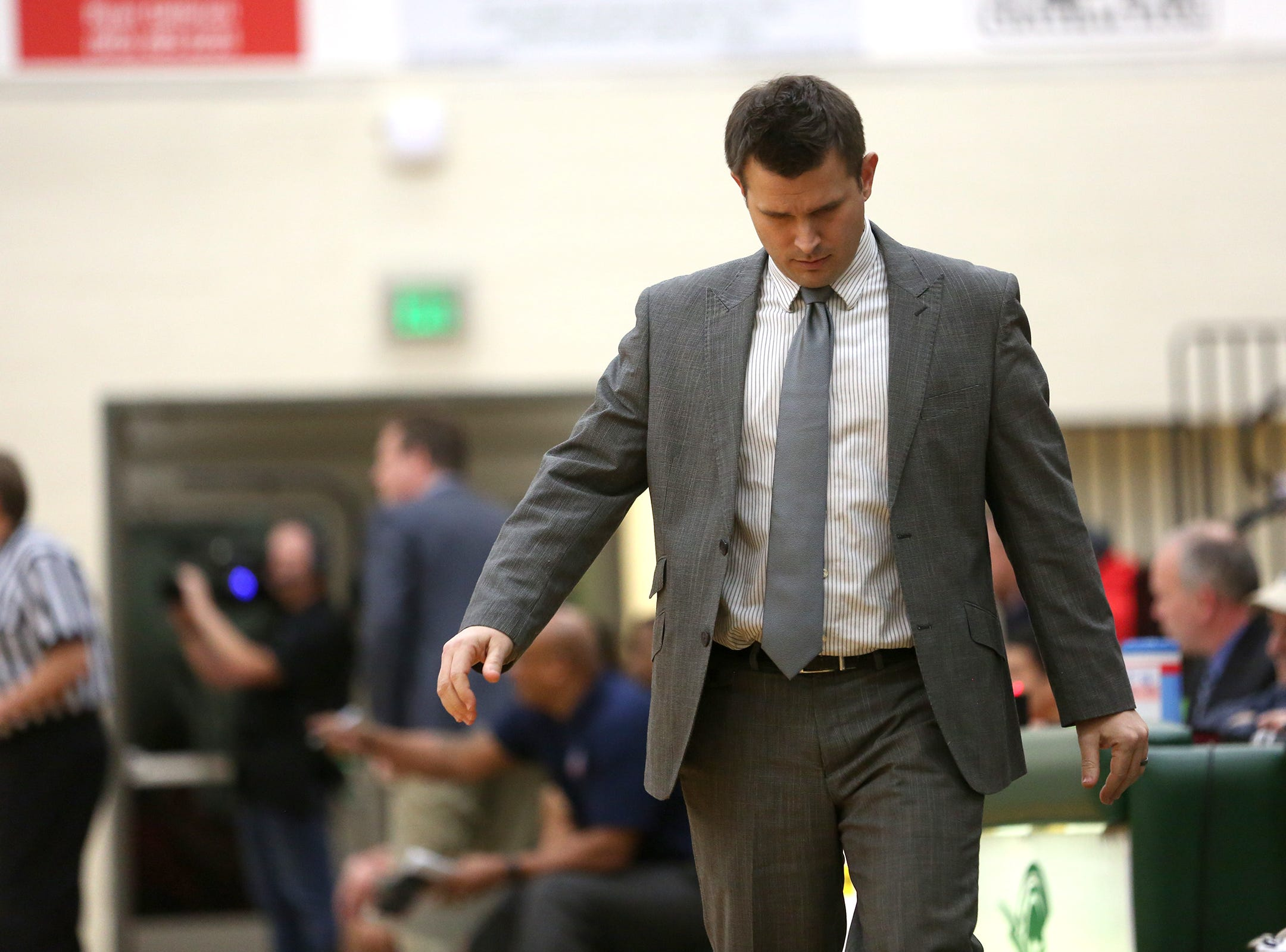 West Salem's head coach Travis Myers during the West Salem vs. Westview 6A Boys Basketball State Championships first round at West Salem High School in Salem on Tuesday, Feb. 26, 2019.