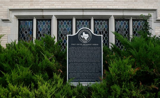 """First United Methodist Church, 37 E. Beauregard Ave, received a historical marker in 1972, commemorating the 90th anniversary of the church, which was founded in 1882 by """"Fighting Parson"""" Andrew Jackson Potter."""