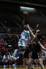 Parkside's Amanda Ballard with the shot against Easton during the Bayside Conference Championships held at the Wicomico Youth & Civic Center on Tuesday, Feb. 26, 2019.