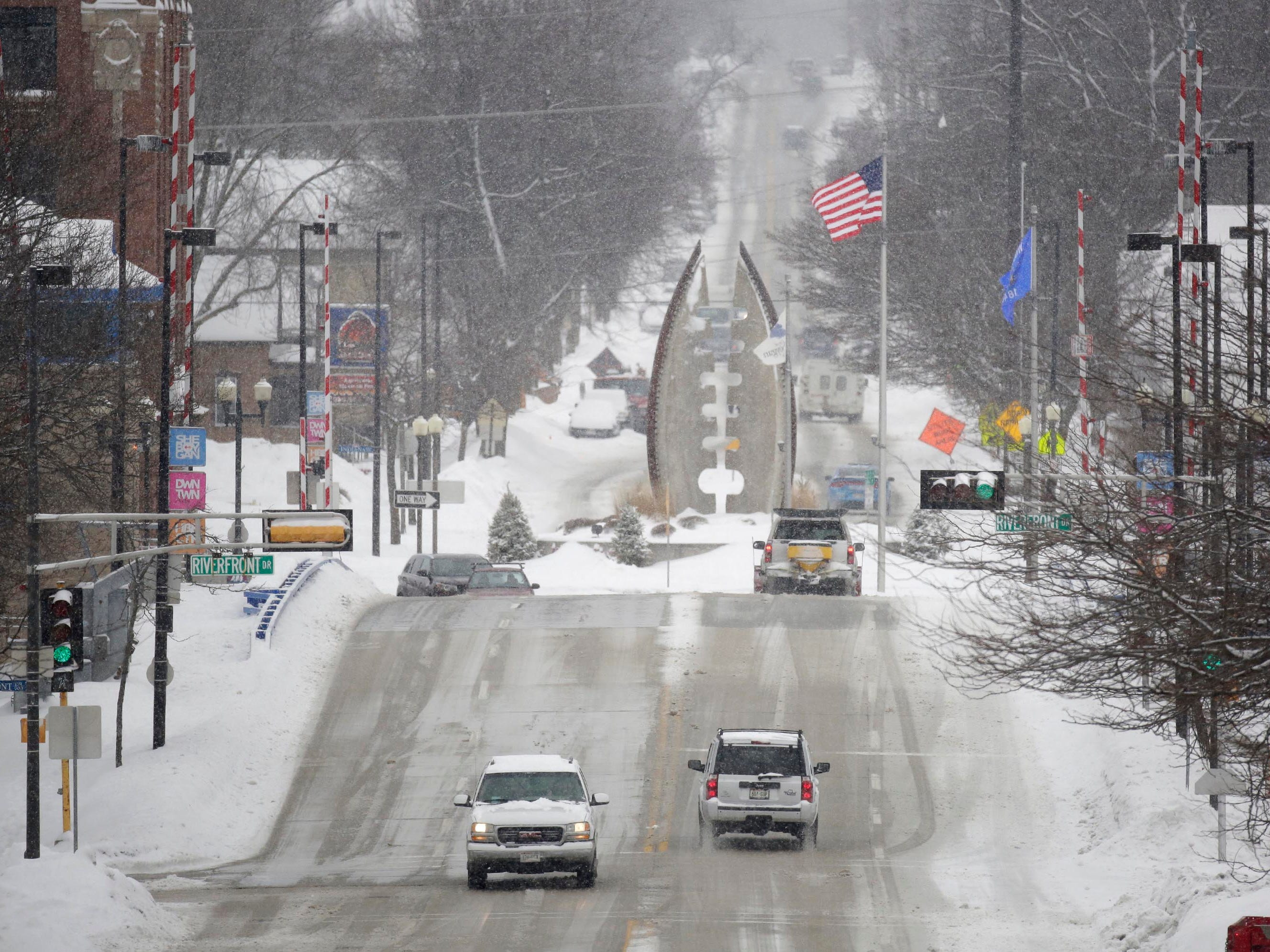 Sheboygan's South 8th Street features good winter driving conditions, Wednesday, February 27, 2019, in Sheboygan, Wis.