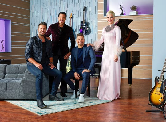 "ABC's ""American Idol"" host Ryan Seacrest with judges Lionel Richie, Katy Perry and Luke Bryan."