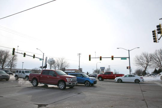 26th Street and Sycamore Avenue intersection is shown, Friday, Feb. 15, 2019 in Sioux Falls, S.D.