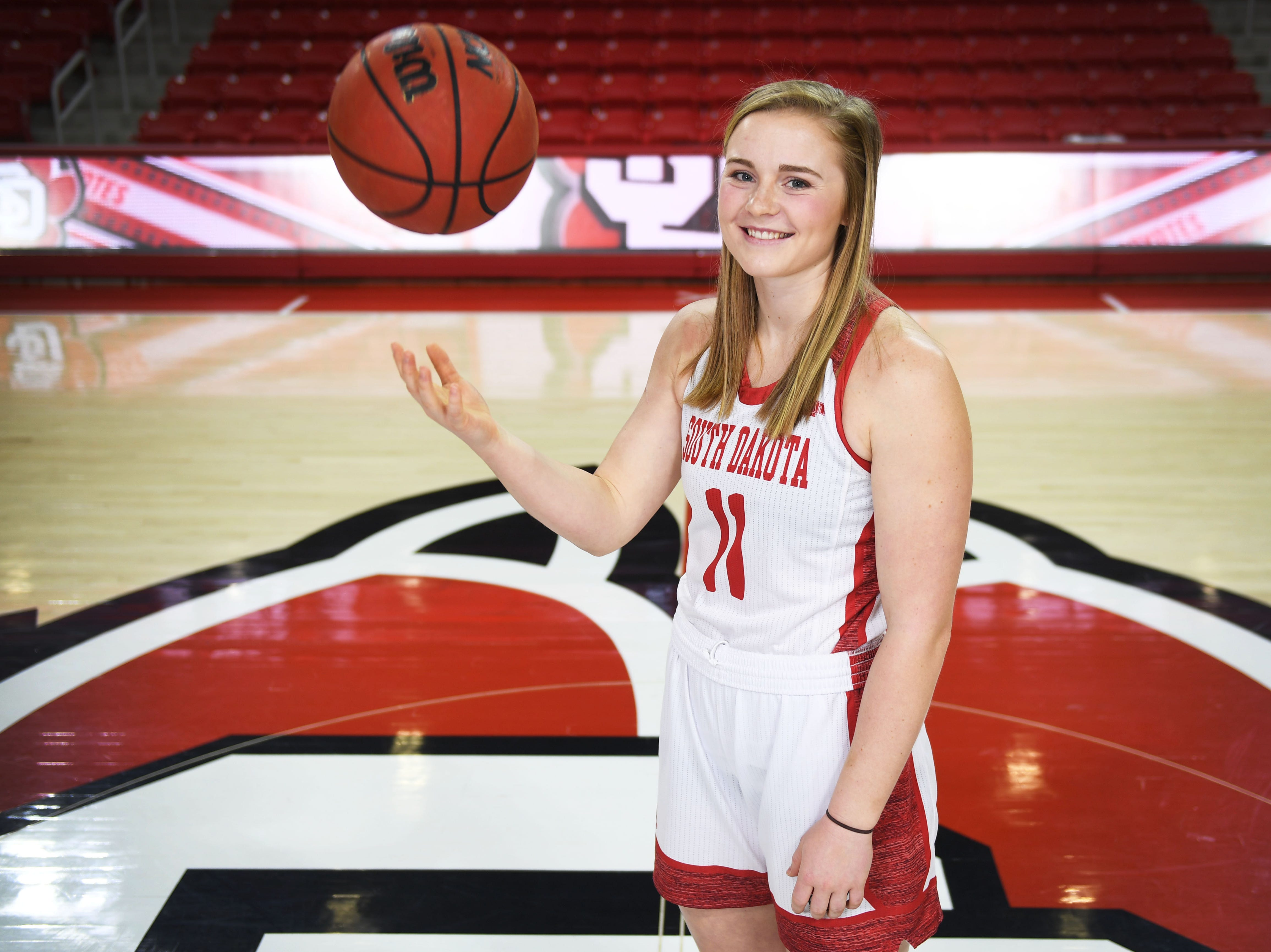 Monica Arens (11) Tuesday, Feb. 27, at Sanford Coyote Sports Center in Vermillion.