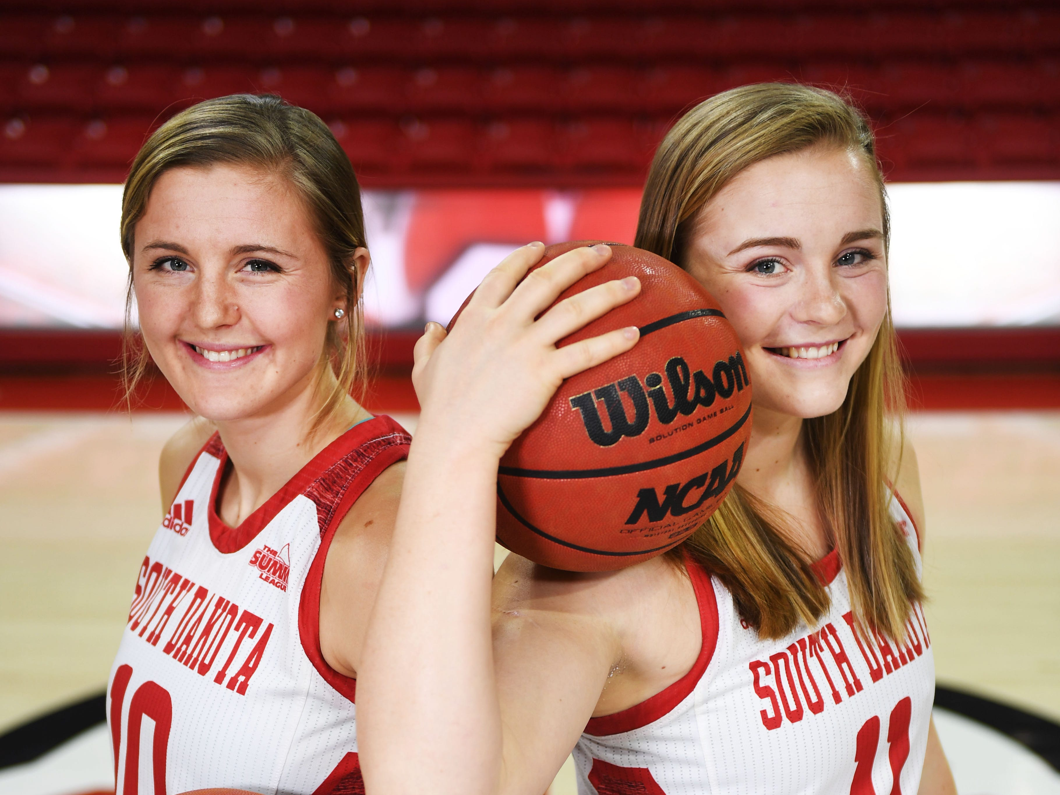 Allison Arens (10) and Monica Arens (11) Tuesday, Feb. 27, at Sanford Coyote Sports Center in Vermillion.