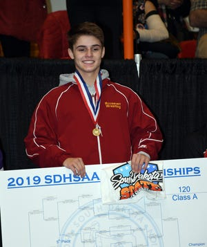 Roosevelt's Riley Hollingshead won the Class A state title at 120 pounds last weekend in Rapid City.