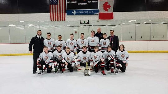 Brandon Valley Ice Cats PeeWee B Team State consolation champs. Kneeling (Left to Right): Caleb Poncelet, Eli Coon, Gavin Stone, Jaden Gluf, Eric Roberts, Keaton Hruby, Jack Reinsch. Standing (Left to Right): Coach Shawn Ericsson, Ethan Ericsson, Teagan Hubers, Lucas Fogarty, Izik Serbousek, Brenden Mofle, Coach Jon Johnson, Maxwell Peters, Coach Kevin Peters.