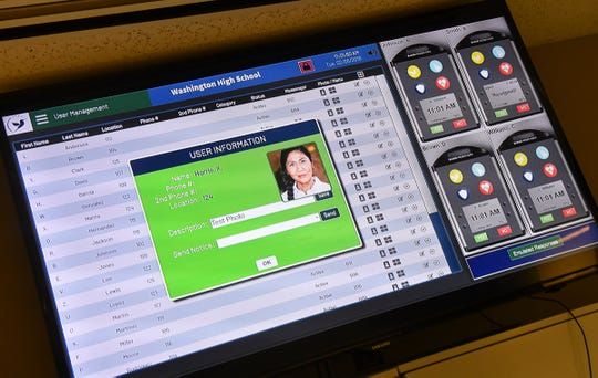 The interface for the Badge Messenger system is on display Tuesday, Feb. 26, at the company in Sauk Rapids.