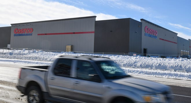 Traffic moves past the new Costco store under construction Wednesday, Feb. 27, in St. Cloud.