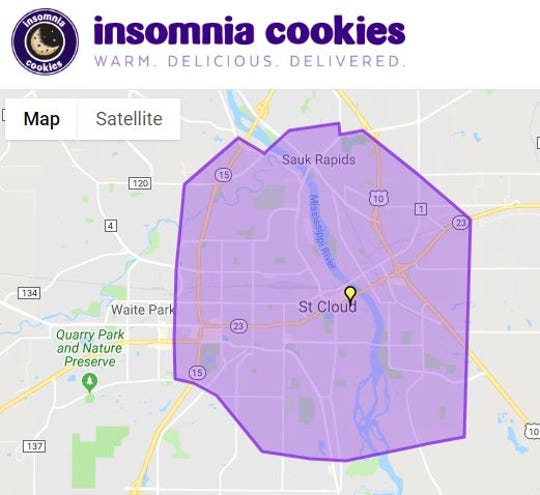 A map on the company's website shows the delivery radius for St. Cloud's Insomnia Cookies store.