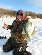 Even though ice conditions are tough, Duane Osgood did manage to find a few nice crappies.