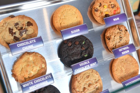 A selection of cookies offered at Insomnia Cookies is on display Wednesday, Feb. 27, 2019 in St. Cloud.