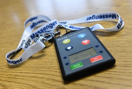 A Badge Messenger unit is on display Tuesday, Feb. 26, at the company in Sauk Rapids. The system is designed to give teachers a way to signal for help wirelessly from the classroom.