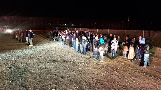 A group of 180 undocumented Central American migrants were detained Tuesday, Feb. 26, 2019, by the U.S. Border Patrol in Sunland Park, N.M.