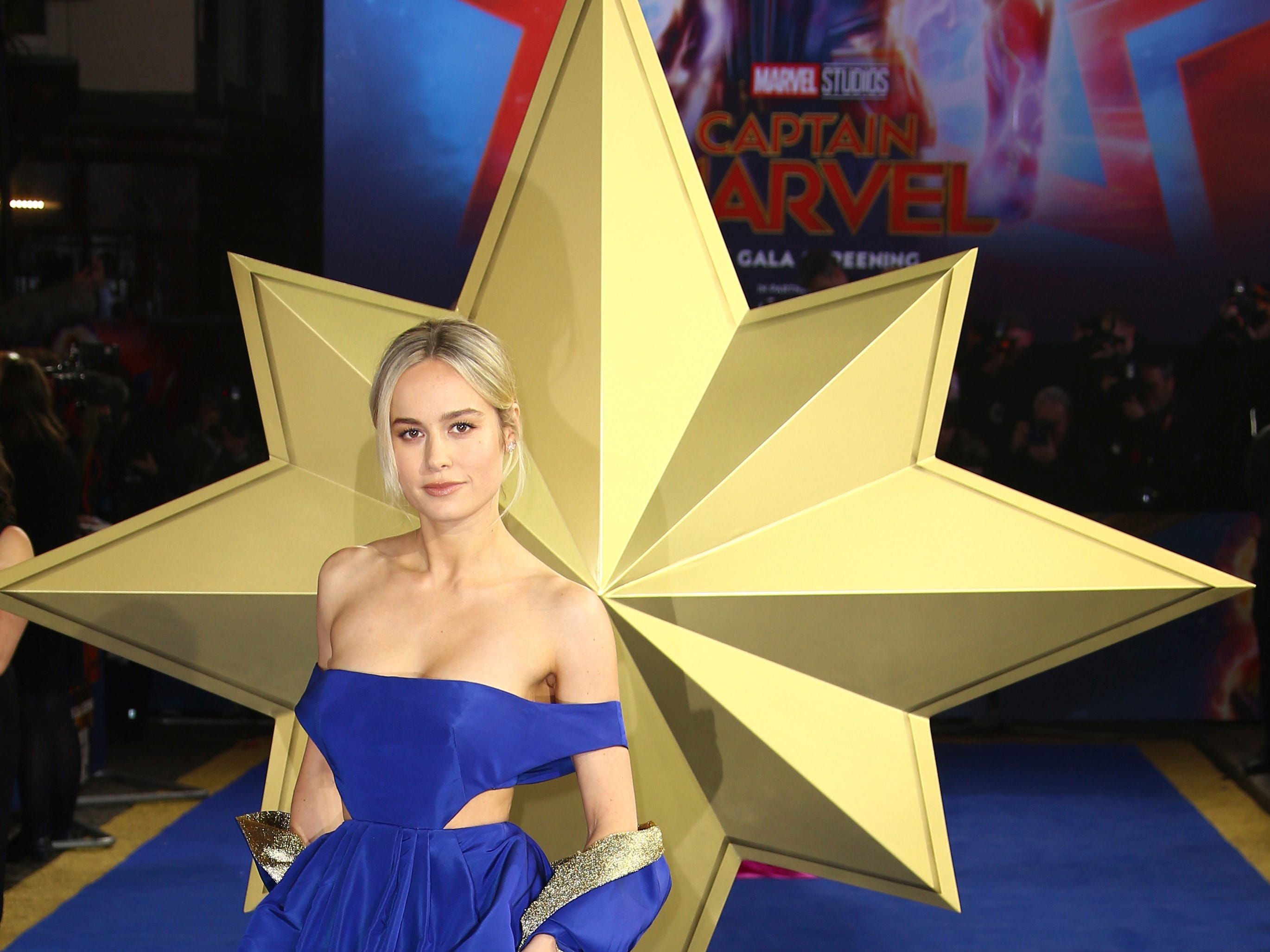 Actress Brie Larson poses for photographers upon arrival at the European Gala of Captain Marvel at a central London cinema, Wednesday, Feb. 27, 2019.