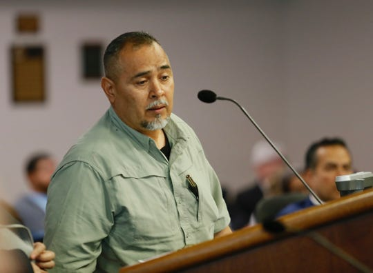 Rudy Alarcon, who lives next to the Later, Later bar, urges the City Council to adopt changes to the city's noise ordinance during the City Council meeting Tuesday, Feb. 26, 2019.