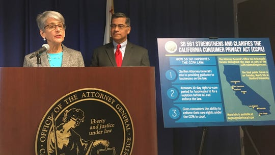California state Sen. Hannah-Beth Jackson, D-Santa Barbara, left, and Attorney General Xavier Becerra on Monday discuss her legislation that would expand on California's nation-leading data privacy law in Sacramento. California consumers would have more power to sue corporations for misusing their data under a proposal to expand what already is the nation's most far-reaching law protecting personal information.